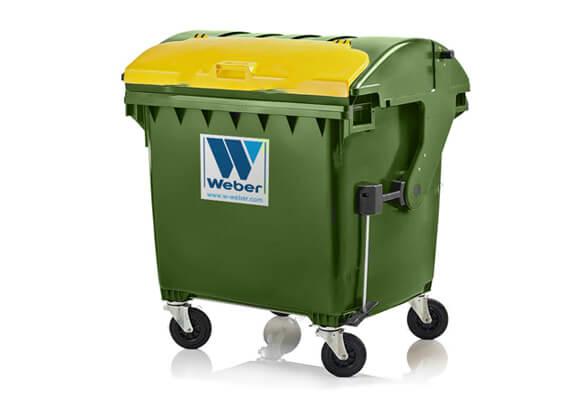 Buitiniu-atlieku-konteineris-1100l-talpos-zalios-spalvos-apvaliu-dangciu-su-papildomu-dangteliu