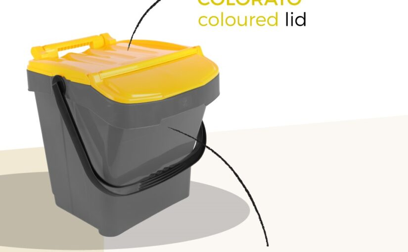 THE CIRCULAR CONTAINERGrey body and coloured lid